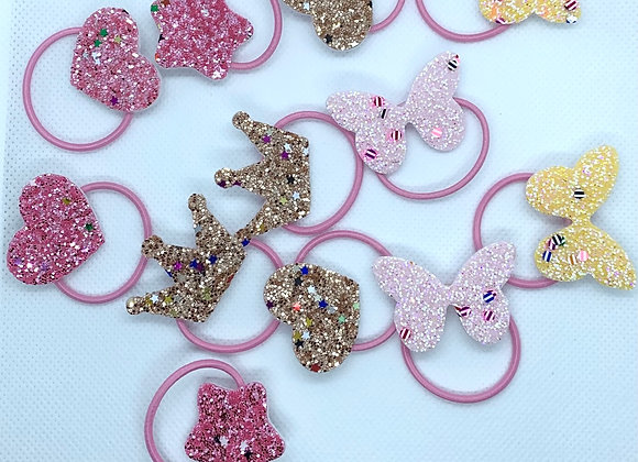 Little Girls Elastic Glitter Bows