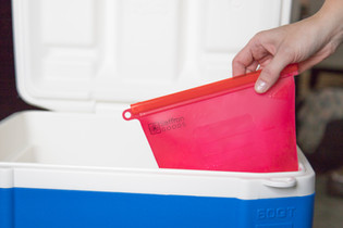 ice in cooler Saffron Goods Fill and Slide Reusable Silicone Storage Bags