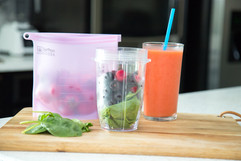 freezer smoothie pack berries on cutting board Saffron Goods Fill and Slide Reusable Silicone Storage Bags
