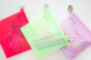 hanging bag storage on hooks Saffron Goods Fill and Slide Reusable Silicone Storage Bags