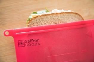 reusable sandwich bags Saffron Goods Fill and Slide Reusable Silicone Storage Bags