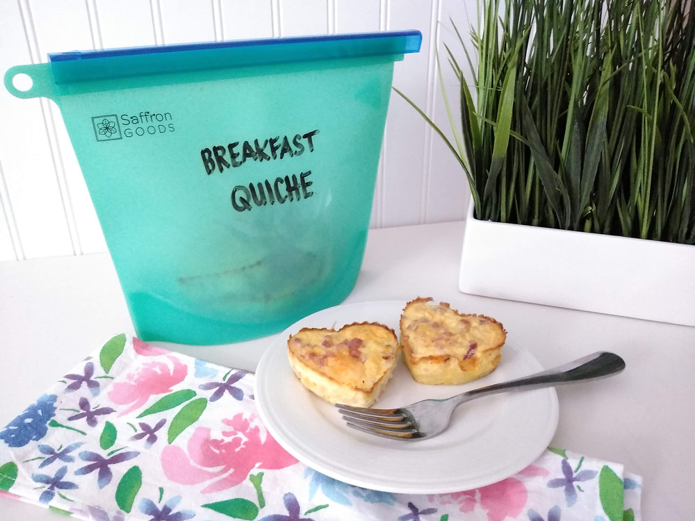 Breakfast quiche in a Saffron Goods Fill and Slide bag