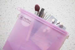 leakproof makeup bag Saffron Goods Fill and Slide Reusable Silicone Storage Bags
