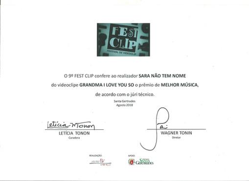 certificado prêmio melhor música