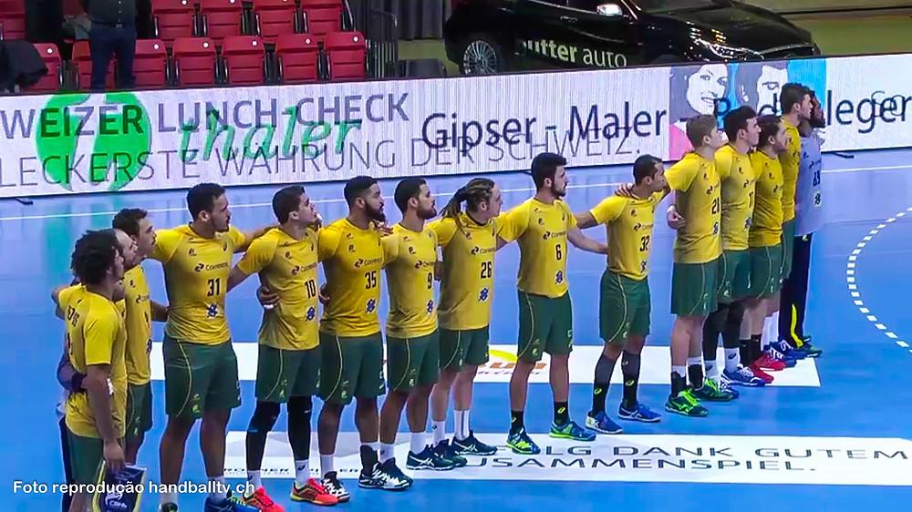 Seleção Brasileira de Handebol na Yellow Cup 2017. (foto reprodução HandballTV.ch)