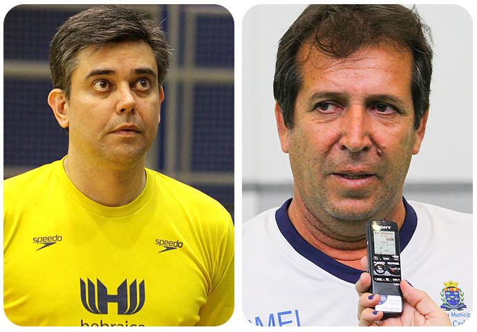 Álvaro Herdeiro, Técnico da Hebraica e Valdir Barbosa, técnico do São Carlos. (arte Tchê Esportes)