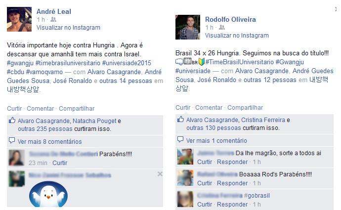 Rede Social do atletas André e Rodolfo. (foto reprodução)
