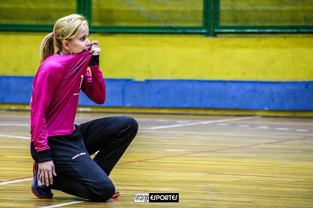 Flávia Vidal, goleira do Santo André. (foto arquivo Tchê Esportes)