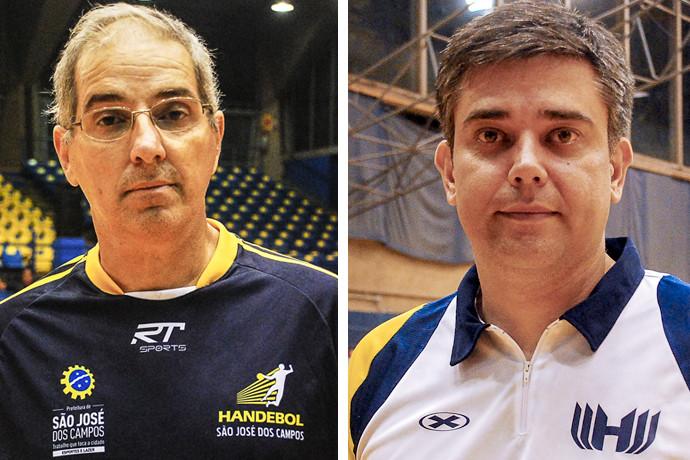 Marcelo Alvarez (SJC) e Álvaro Herdeiro (Hebraica), técnicos de Handebol Super Paulistão Masculino