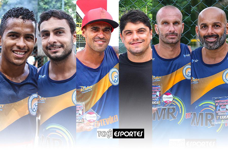 Caninha, Pantaneiro, Cabelo, Hugo, Alemão e Giba. Atletas da Riplay Sports. (arte Tchê Esportes)