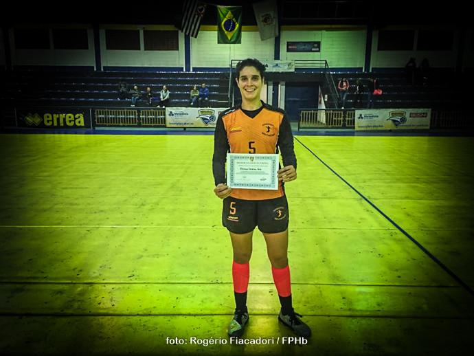 """Dani Jóia , do São Caetano, """"Melhor Jogadora da Partida"""" (foto Rogério Fiacadori / FPHb"""