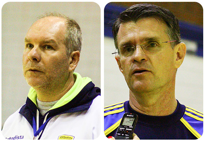 Eduardo Carloni (Metodista) e Márcio Volponi (São José), técnicos. (foto André Pereira / Tchê Esportes)