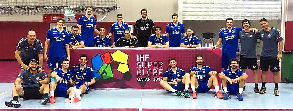 EC Pinheiros, do Brasil, após treino em Doha. (foto rede social Diogo Huber)