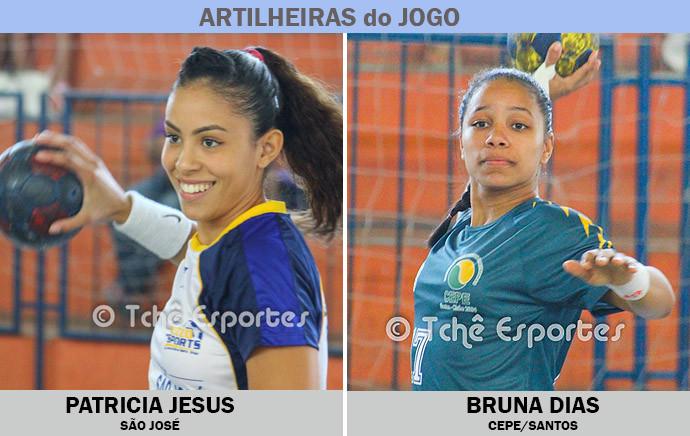 Patricia Jesus, São José e Bruna Dias, CEPE/Santos, artilheiras do jogo (arte Tchê Esportes)
