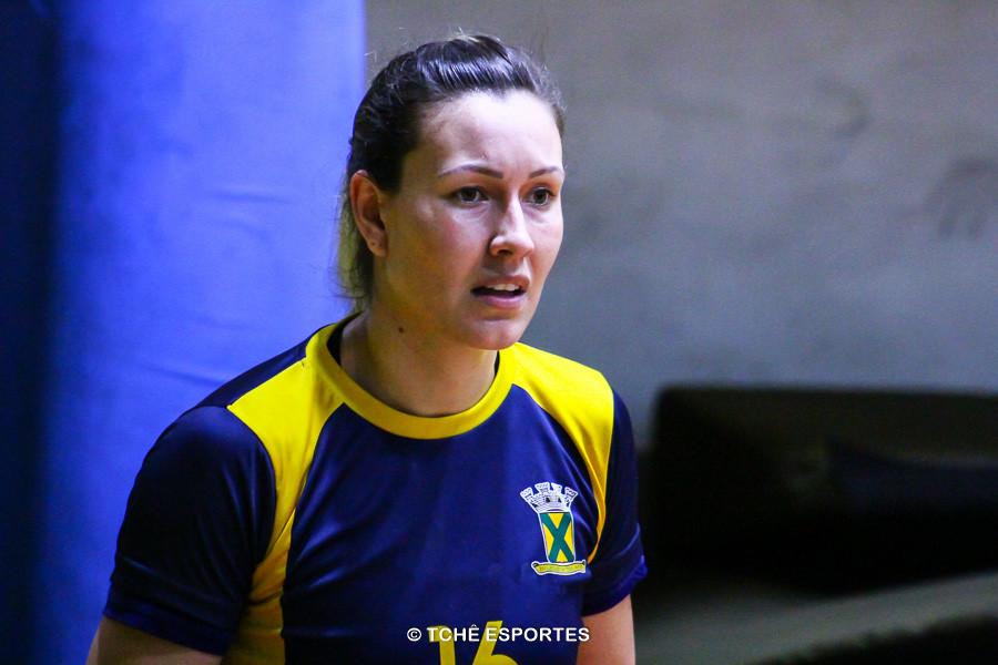 Fernanda Barbosa, ponta do Santo André. Destaque e artilheira do jogo. (foto arquivo Tchê Esportes)