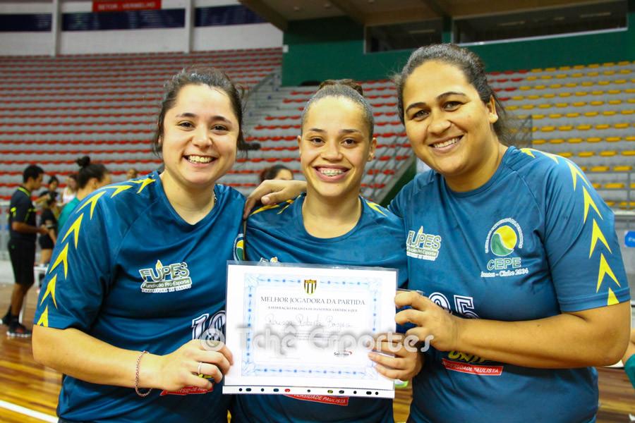Florência, Raissa e Priscila, goleiras do CEPE/Santos. (foto André Pereira / Tchê Esportes)