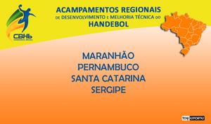 Acampamentos Regionais de Desenvolvimento e Melhoria Técnica do Handebol. (arte Tchê Esportes)