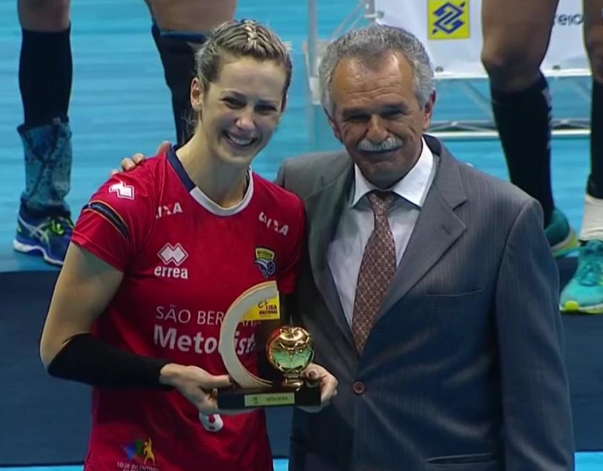 Célia Costa, artilheira da Liga Nacional. (reproidução SporTV)