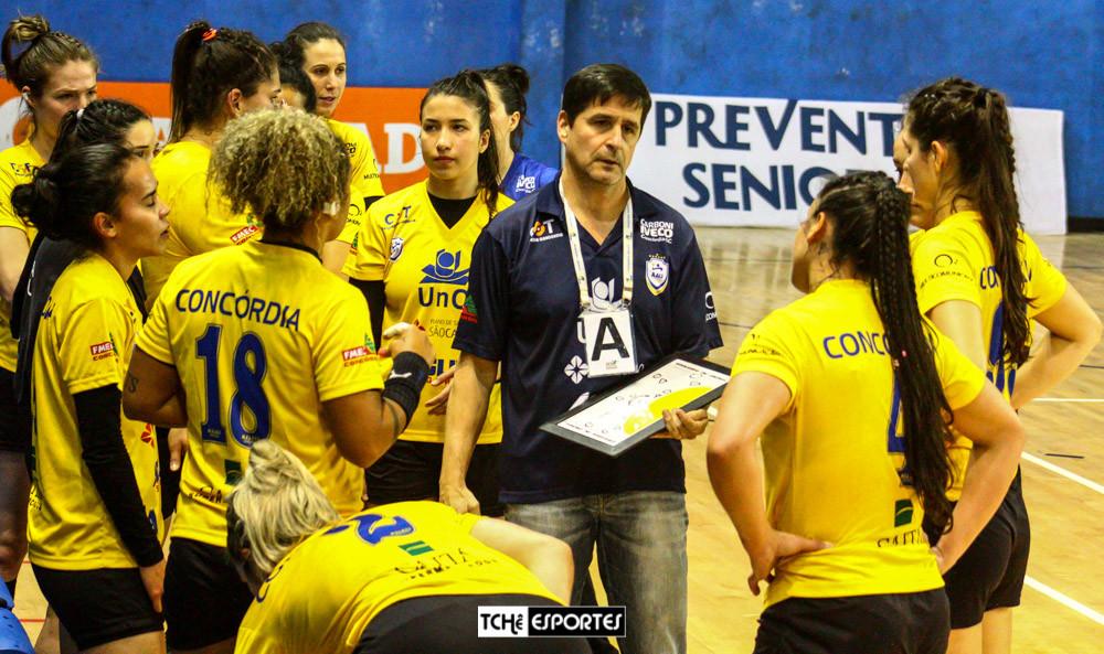 Alexandre Schneider, técnico do Concórdia(SC). (foto André Pereira / Tchê Esportes)