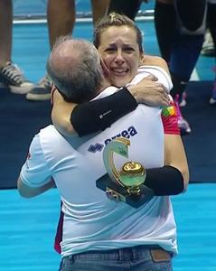Eduardo Carlone e Célia Costa, do São Bernardo/Metodista. (reprodução SporTV)