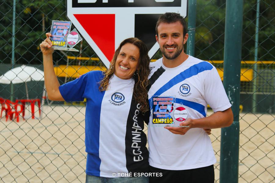 Gisele e Laerte (EC Pinheiros), Campeões Misto. (foto Andréa Rodrigues / Tchê Esportes)