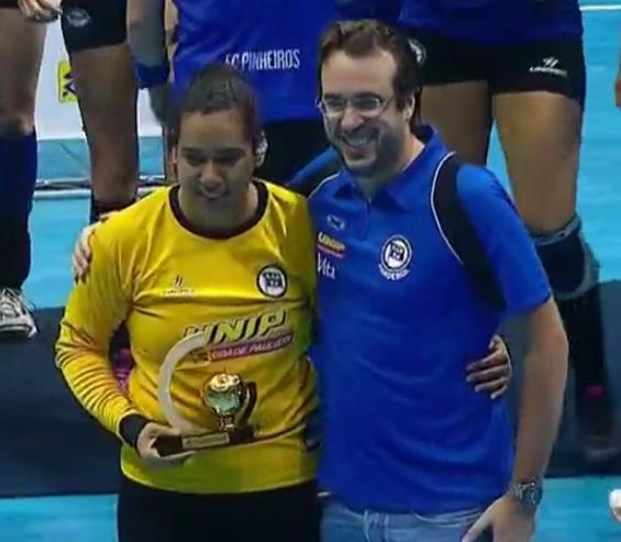 Alice Fernandes, goleiro do EC Pinheiros (reprodução SporTV)