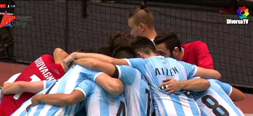 Seleção Argentina Juvenil Masculina de Handebol .(foto reprodução DiversaTV)