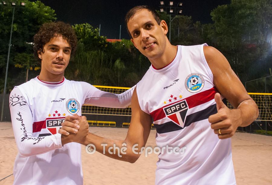 Dhieguinho e Marcão, SPFC, treinam em São Paulo (foto André Pereira / Tchê Esportes)