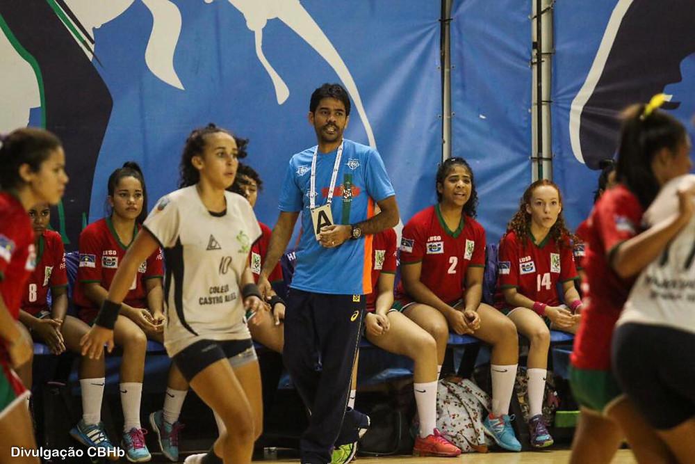 Cristiano Rocha, treinador do Português/AESO. (foto divulgação CBHb)