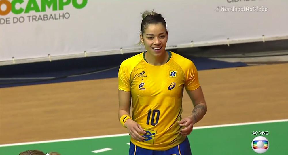 Jéssica, artilheira do jogo. (foto reprodução TV Globo)