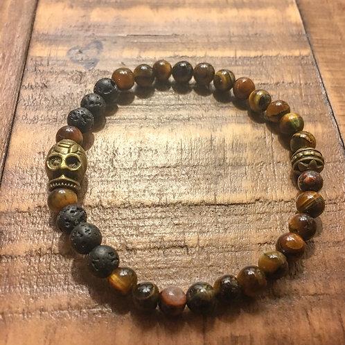 tiger eye + lava stone + brass skull/ owl stretch cord healing stone bracelet