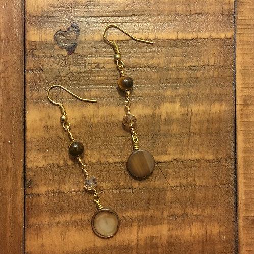 a delray treasure ⋆ matching earrings (tiger eye + crystal glass)