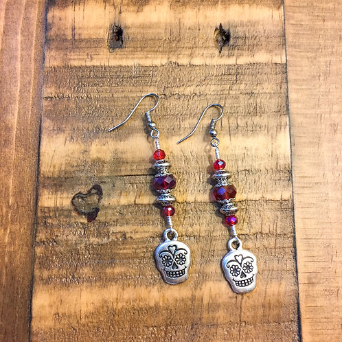 day of the dead ⋆ pewter + red crystal earrings