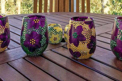 take me to the mardi gras⋆ stemless white wineglasses (purple)