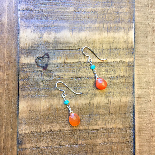 carnelian briolette + czech glass french hook silver earrings