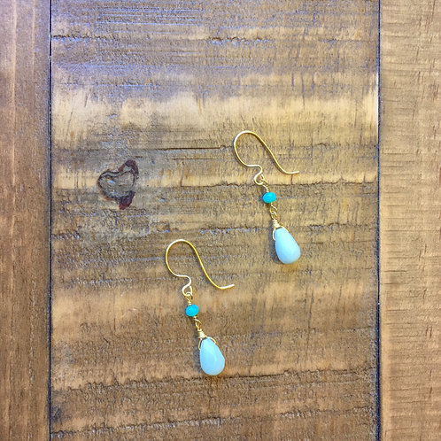 whiter shade of pale, aqua blue amazonite briolette gold earrings