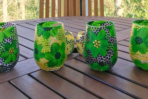 take me to the mardi gras ⋆ stemless white wineglasses (green)