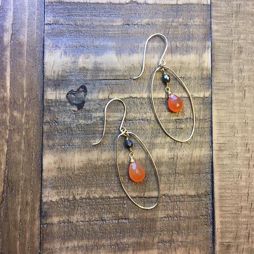 confident carnelian, egg-drop, french hook earrings