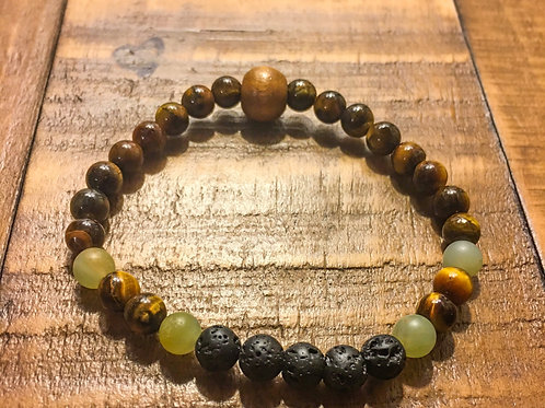 tiger eye + lava stone + amazonite + wood stretch cord healing stone bracelet