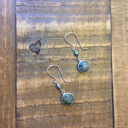 labradorite stone+ fire polished glass french hook silver earrings 1