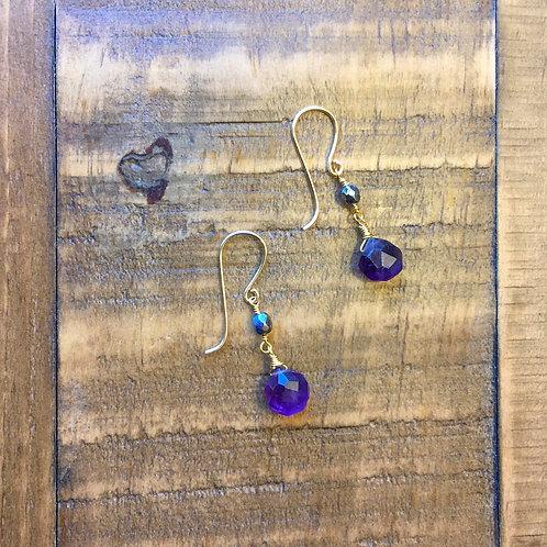 amethyst briolette french hook gold earrings