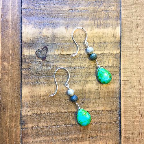 silver gemstone + island breeze czech glass french hook earrings