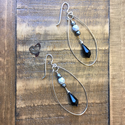 silver egg-drop black swarovski crystal + fire polished glass earrings