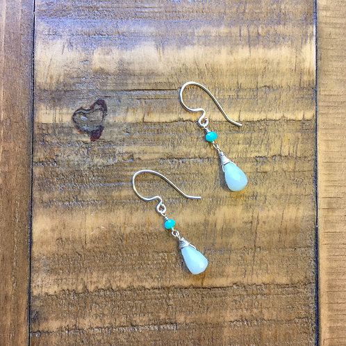 whiter shade of pale, aqua blue amazonite briolette french hook silver earrings
