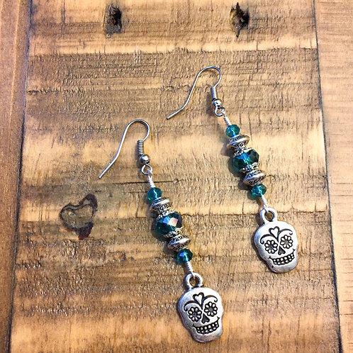 day of the dead ⋆ pewter + bleu crystal earrings