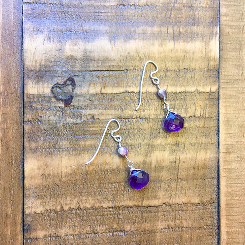 amethyst briolette french hook silver earrings