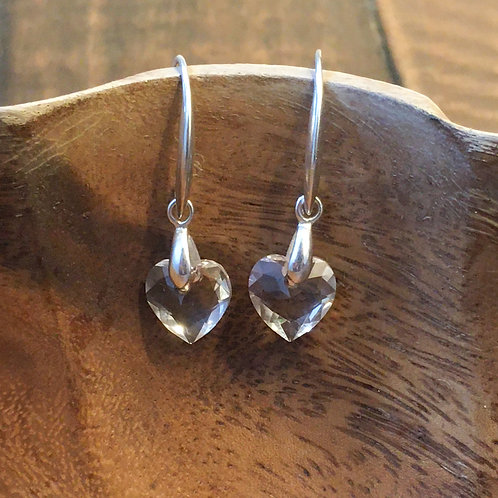 snow queen earrings (sterling silver + swarovski crystal heart-shaped)