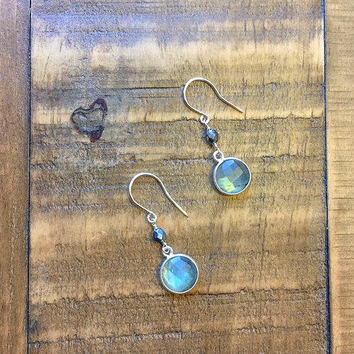 labradorite stone+ fire polished czech glass french hook silver earrings 3