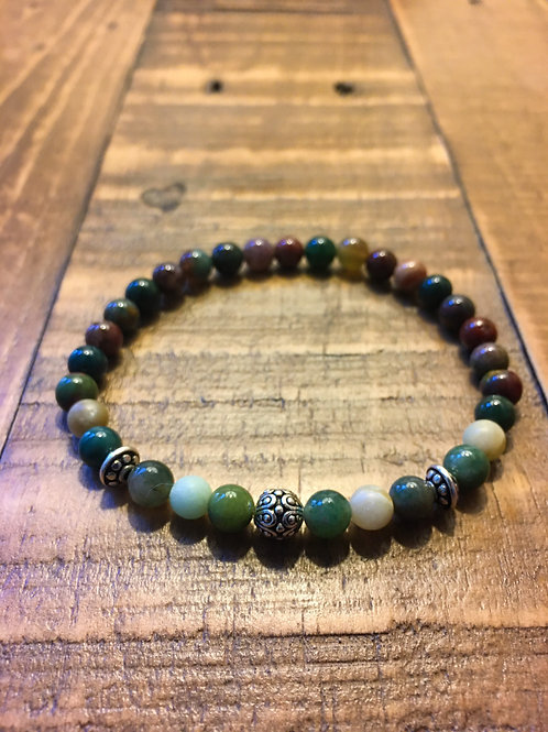 agate + amazonite + pewter stretch cord healing stone bracelet