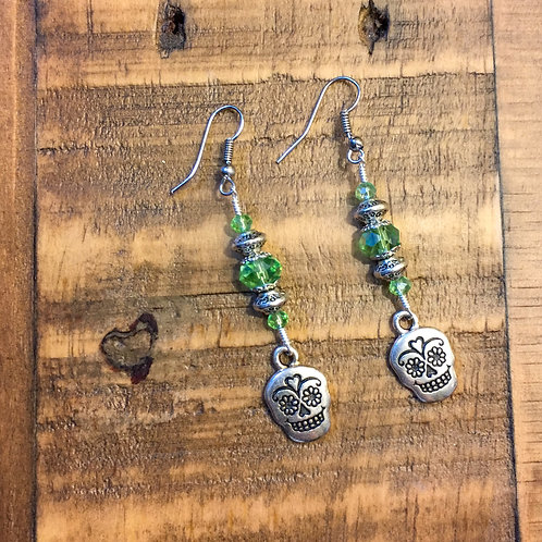 day of the dead ⋆ pewter + green crystal earrings
